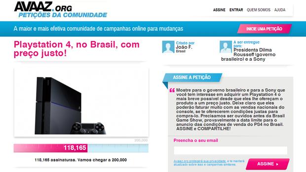 Petição por preço justo no PS4 reúne mais de 100 mil assinaturas. (Foto: Reprodução) (Foto: Petição por preço justo no PS4 reúne mais de 100 mil assinaturas. (Foto: Reprodução))