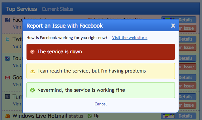 Site Down Right Now, que alerta serviços fora do ar, dá destaque ao Facebook (Foto: Reprodução/Down Right Now)