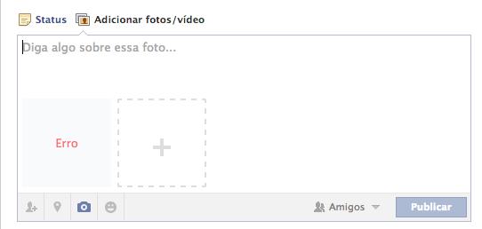 Ao tentar publicar uma foto, erro fica ainda mais evidente no Facebook (Foto: Reprodução/Facebook)
