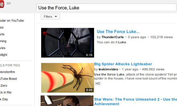 Easter Egg de Star Wars usa a Força para mexer as coisas da tela. (Foto: Reprodução)