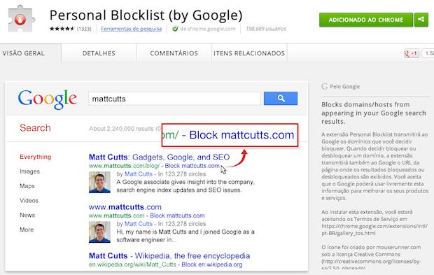 Como bloquear um site dos resultados de busca do Google no Chrome ...