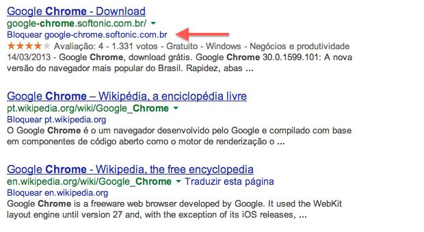Bloqueando um resultado na página de pesquisa do Google (Foto: Reprodução/Helito Bijora)