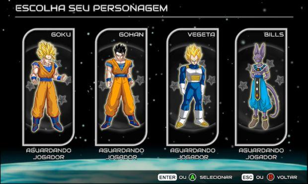 Os personagens de Dragon Ball Z: A Batalha dos Deuses - Goku, Vegeta, Gohan e o vilão do filme, Bills (Foto: Divulgação)