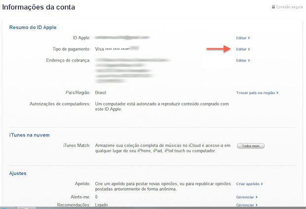 Iniciando a edição dos dados de cartão de crédito no iTunes (Foto: Reprodução/Marvin Costa)