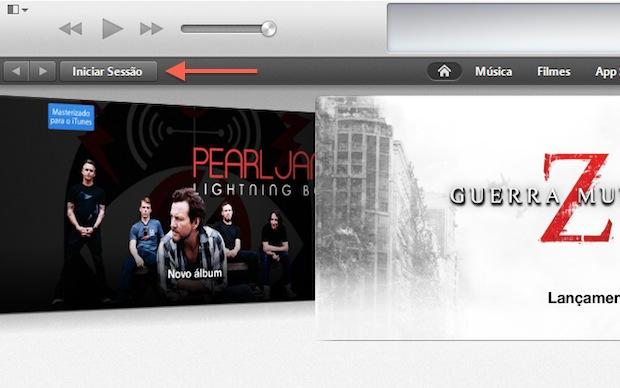 """Acessando a opção """"Iniciar sessão"""" do iTunes (Foto: Reprodução/Marvin Costa)"""