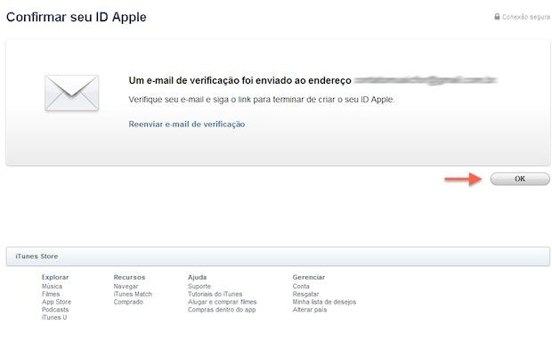 Um e-mail de confirmação será enviado para confirmar o cadastro no iTunes (Foto: Reprodução/Marvin Costa)