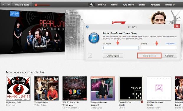Iniciando uma sessão no iTunes (Foto: Reprodução/Marvin Costa)
