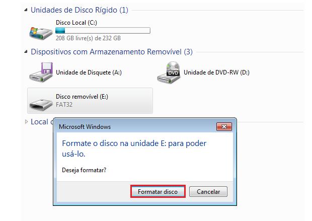 """Clique em """"Formatar disco"""" (Foto: Reprodução/Thiago Bittencourt)"""