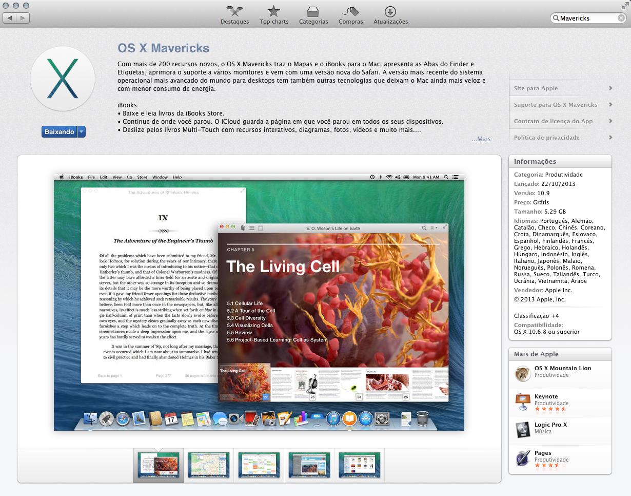 Instalando o Mac OS X Mavericks pela Mac App Store (Foto: Reprodução/Marvin Costa)