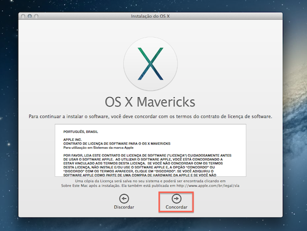 Concorde com os termos de licença de software do Mac OS X Mavericks (Foto: Reprodução/Marvin Costa)