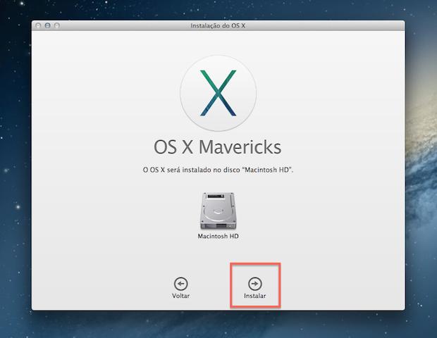 Confirmando a instalação do Mac OS X Mavericks (Foto: Reprodução/Marvin Costa)