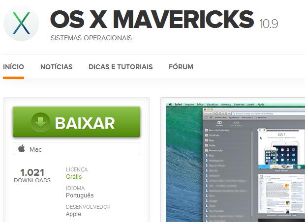 Acessando o link do OS X Mavericks pelo TechTudo Downloads (Foto: Reprodução)