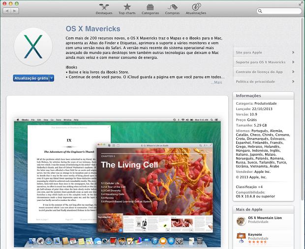 Download do OS X Mavericks na Mac App Store (Foto: Reprodução/Edivaldo Brito)