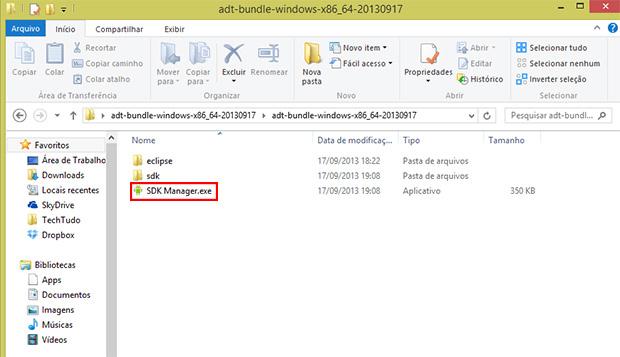 Após extrair os arquivos, execute 'SDK Manager' (Foto: Reprodução)