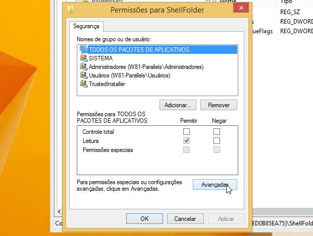 Configurando permissões da chave (Foto: Reprodução/Helito Bijora)