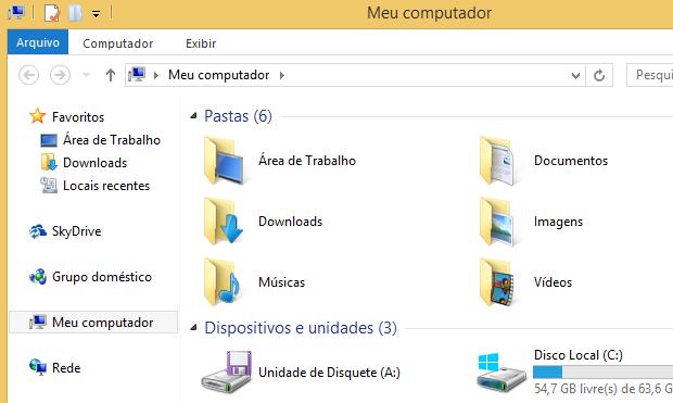 Atalho para o SkyDrive no Explorador de Arquivos (Foto: Reprodução/Helito Bijora)