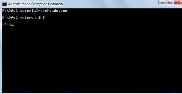 Tela do prompt de comando do Windows após o comando para deletar os arquivos ser inserido (Foto: Reprodução/Rodrigo Gurgel)