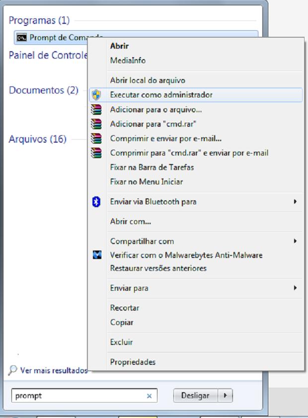 Abra o prompt de comando do Windows como administrador para poder seguir com o tutorial (Foto: Reprodução/Rodrigo Gurgel)