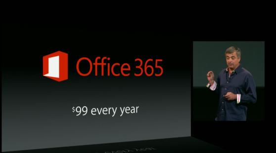 Eddy Cue, executivo da Apple, faz provocação direta ao Office 365 em evento do iPad Air (Foto: Reprodução/Apple)