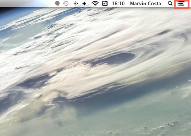 Abrindo a central de notificações do Mac OS X Mavericks (Foto: Reprodução/Marvin Costa)