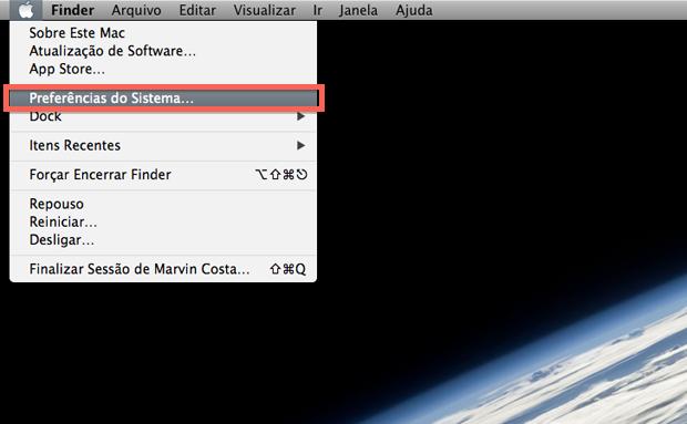 Acessando as preferências do sistema no Mac OS X Mavericks (Foto: Reprodução/Marvin Costa)