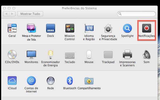 Acessando as configurações de notificação do Mac OS X Mavericks (Foto: Reprodução/Marvin Costa)