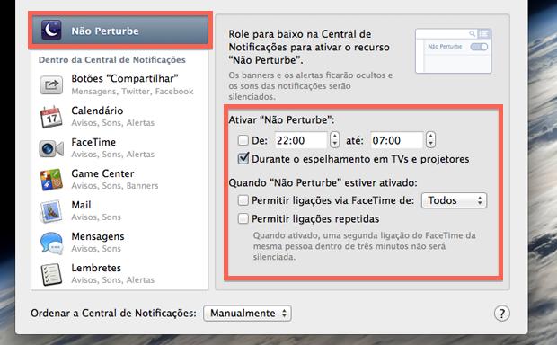 """Acessando as configurações do """"Não Pertube"""" do Mac OS X Mavericks (Foto: Reprodução/Marvin Costa)"""