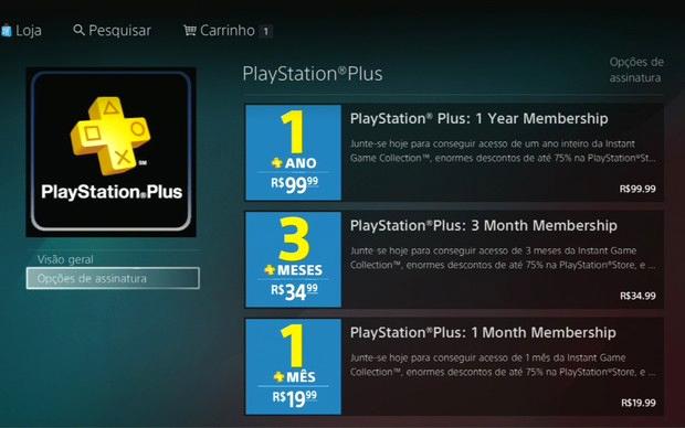 PS Plus lançada recentemente no Brasil traz descontos, jogos e serviços (Foto: Reprodução)
