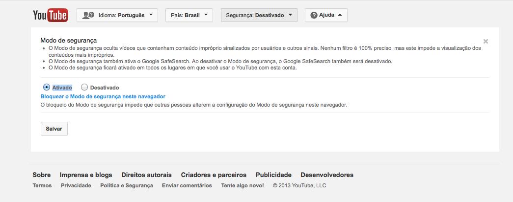 Filtro de segurança do Youtube pode ser ativado na última linha do site (Foto: Reprodução/Google)