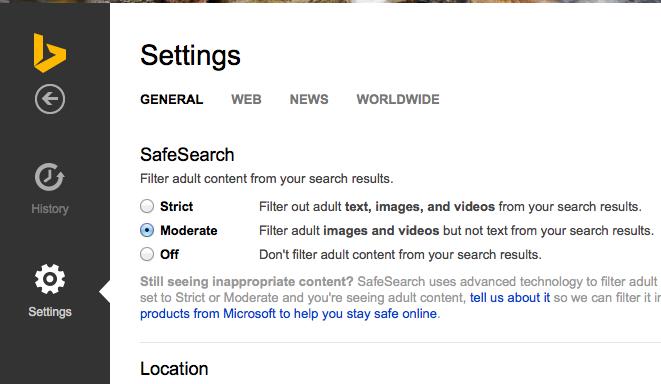Filtro de resultados com conteúdo adulto no Bing, da Microsoft (Foto: Reprodução/Microsoft)