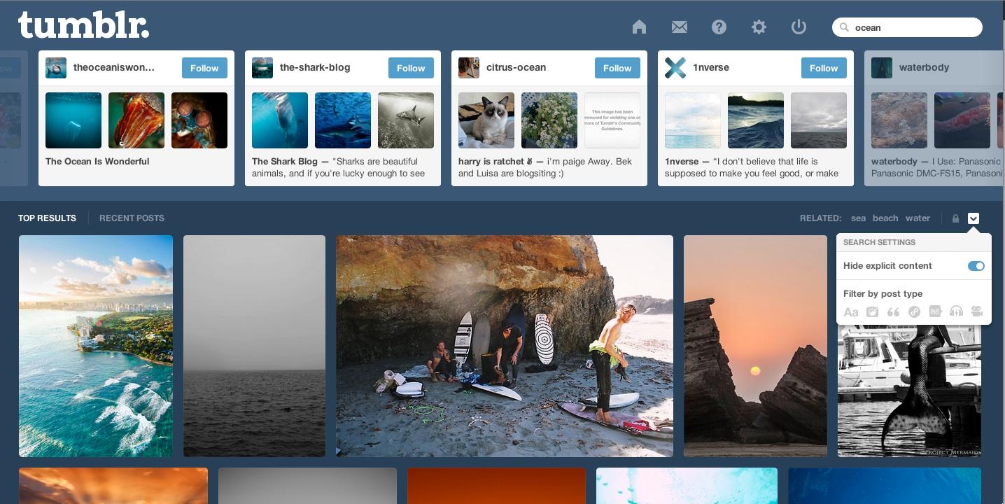 Com a novidade, usuários do Tumblr agora tem acesso a um Menu no lado direito da tela. Nele é possível modificar acesso à conteúdo explícito e filtrar resultados por tipo de conteúdo como texto, imagem e vídeo. (Foto: TechTudo / Gisele Góes)