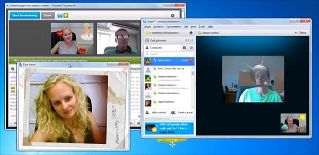 Com o ManyCam a webcam pode ser usada com vários programas ao mesmo tempo. O aplicativo insere efeitos e molduras às imagens (Foto: Reprodução/YouTube)