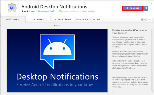 Baixe a extensão do Desktop Notifications para o Chrome do seu PC (Foto: Reprodução/Thiago Bittencourt)
