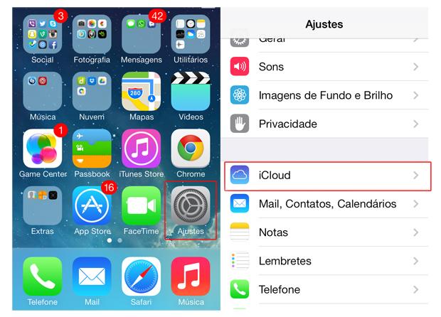 Acessando os ajustes do iOS e as configurações do iCloud (Foto: Reprodução/Marvin Costa)