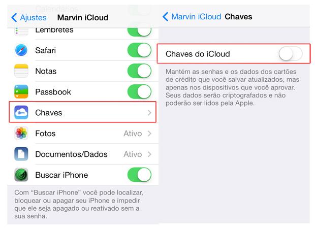 """Acessando a opção """"Chaves"""" e ligando as Chaves do iCloud no iOS 7 (Foto: Reprodução/Marvin Costa)"""