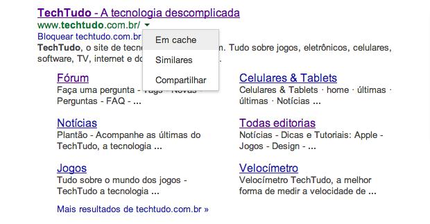 Acessando cache nos resultados de busca do Google (Foto: Reprodução/Helito Bijora)