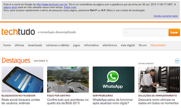 Visualizando página do cache do Google (Foto: Reprodução/Helito Bijora)