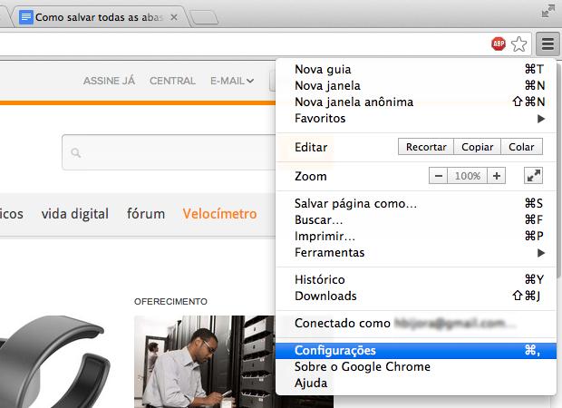 Acessando as configurações do Chrome (Foto: Reprodução/Helito Bijora)