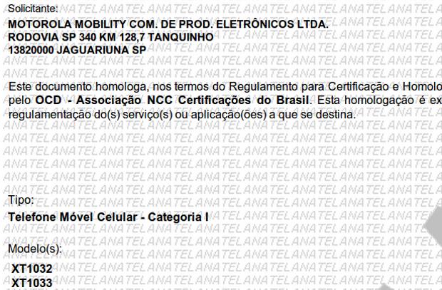 Solicitação da Motorola para homologação dos modelos XT1032 e XT1033. (Foto: Reprodução/Anatel)