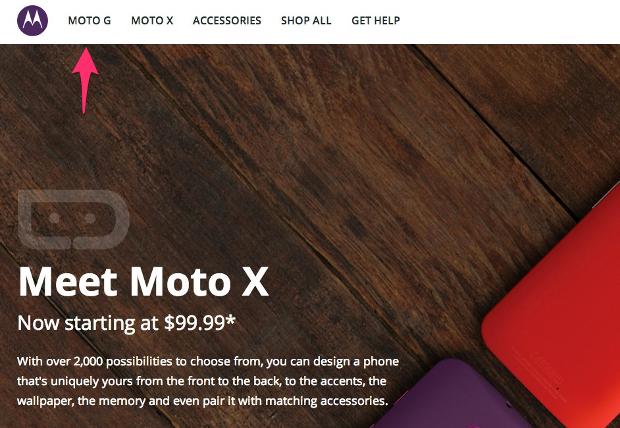 Moto G apareceu por algumas horas no site oficial da Motorola. (Foto: Reprodução/Droid Life)