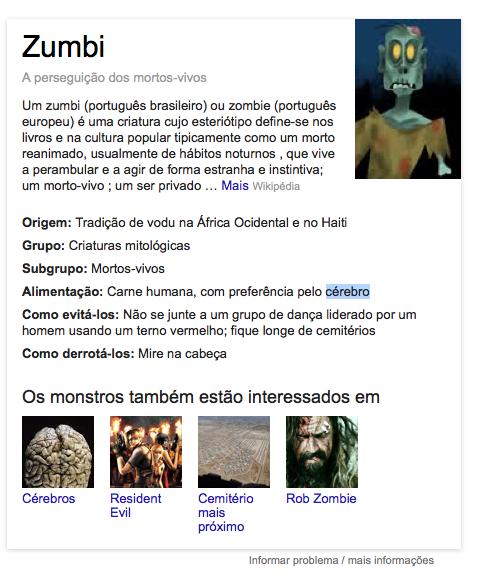 Zumbi, nas buscas do Google, mostra resultados curiosos (Foto: Reprodução/Google)