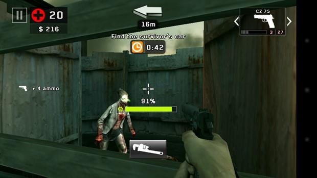 Dead-trigger 2 mantém a jogabilidade do primeiro, acrescentando novas mecânicas (Foto: Reprodução / Dario Coutinho)