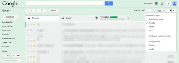 Acesse os temas de plano de fundo do Gmail (Foto: Reprodução/Carolina Ribeiro)