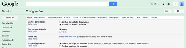 Acesse a opção para adicionar foto de perfil no Gmail (Foto: Reprodução/Carolina Ribeiro)