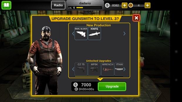 """Adquira novos equipamentos após """"evoluir"""" os NPCs como o Gunsmith (Foto: Reprodução / Dario Coutinho)"""