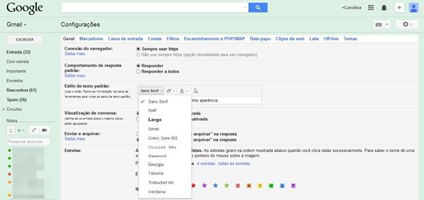 Escolha o estilo, tamanho e cor do texto no Gmail (Foto: Reprodução/Carolina Ribeiro)