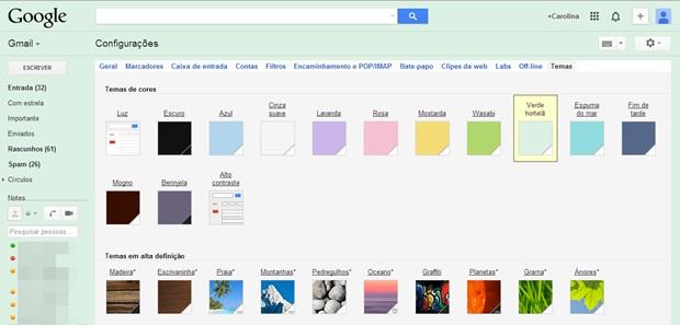 Escolha um plano de fundo para sua conta no Gmail (Foto: Reprodução/Carolina Ribeiro)