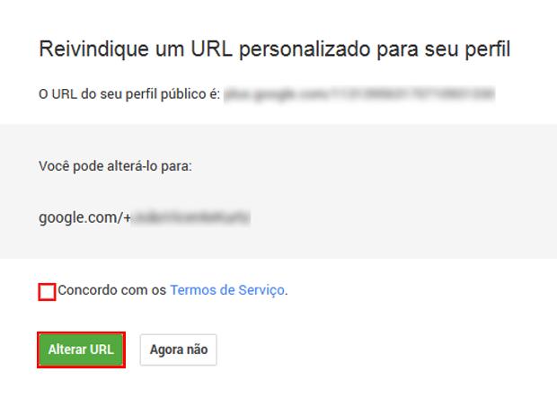 Ativando URLs personalizadas no Google+ (foto: Reprodução/João Kurtz)