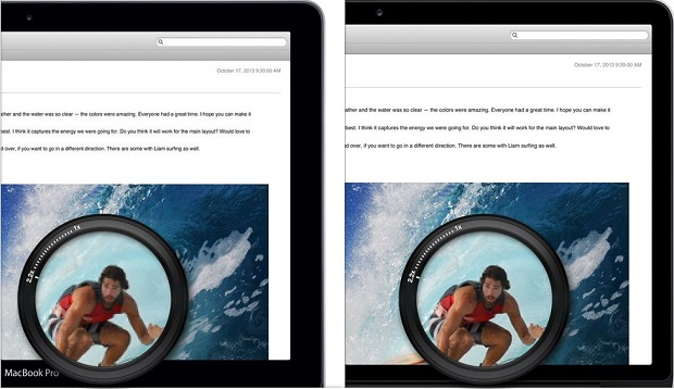 Diferença entre tela comum do MacBook Pro Clássico (à esquerda) e o display Retina do novos notebooks da Apple (Foto: Reprodução/Apple)