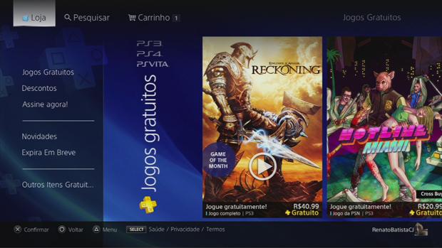 Menu da PlayStation Plus Nacional. (Foto: Reprodução)
